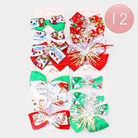 12 Set of 3 - Christmas Bow Hair Barrettes