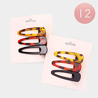 12 Set of 3 - Celluloid Acetate Tortoise Alligator Clips