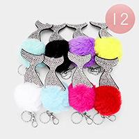 12PCS - Rhinestone Mermaid Tail Pom Pom Key Chains
