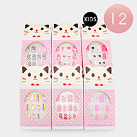 12PCS - Polka Dot Bow Heart Press on Nails