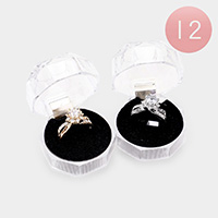 12PCS - Flower Round Halo Rings and Cases