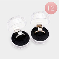 12PCS - Square Halo Rings and Cases