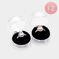 12PCS - Round Halo Rings and Cases