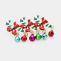 Enamel Candy Cane Christmas Jingle Bell Pin Brooch