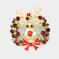 Enamel Stone Embellished Rudolph Pin Brooch