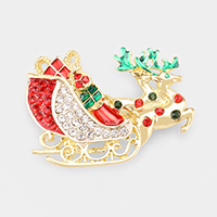 Enamel Stone Embellished Rudolph Sleigh Pin Brooch