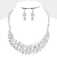 Marquise Stone Cluster Evening Necklace