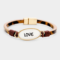 Love Oval Charm Leopard Faux Leather Magnetic Bracelet