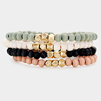 4PCS - Wood Faceted Metal Bead Stretch Bracelets