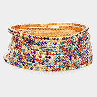 12PCS - Colorful Rhinestone Layered Stretch Bracelets