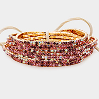12PCS - Ribbon Colorful Rhinestone Layered Stretch Bracelets