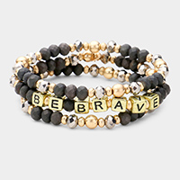 3PCS - BE BRAVE Faceted Bead Layered Stretch Bracelets