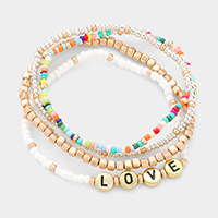 4PCS - LOVE Multi Bead Stretch Bracelets