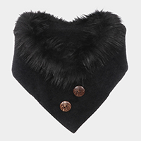 Solid Faux Fur Collar Double Button Detail Scarf