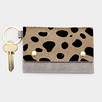 Animal Pattern Genuine Leather Card Holder Key Chain