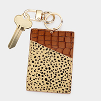 Cheetah Pattern Genuine Leather Card Holder Key Chain