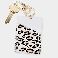 Leopard Pattern Genuine Leather Card Holder Key Chain