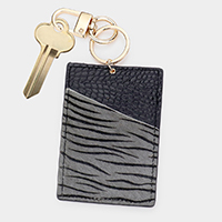 Zebra Pattern Genuine Leather Card Holder Key Chain