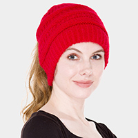 Cable Knit Ponytail Beanie Hat