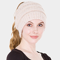 Knit Ponytail Beanie Hat
