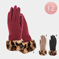 12PCS - Leopard Faux Fur Accented Gloves
