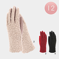 12PCS - Faux Fur Sherpa Gloves