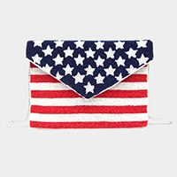 Star American USA Flag Seed Bead Crossbody / Clutch Bag