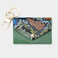 Snake Skin Pattern Faux Leather Card Holder Key Chain