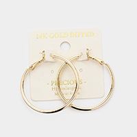 14K Gold Dipped 1.5 Inch Hypoallergenic Hoop Earrings