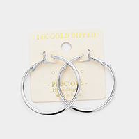 14K White Gold Dipped 1.5 Inch Hypoallergenic Hoop Earrings