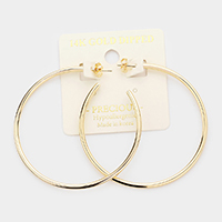 14K Gold Dipped 2.25 Inch Hypoallergenic Half Hoop Earrings