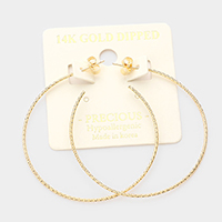 14K Gold Dipped 2 Inch Textured Hypoallergenic Hoop Earrings