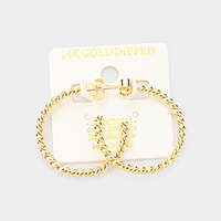 14K Gold Dipped 1.2 Inch Twisted Metal Hypoallergenic Hoop Earrings