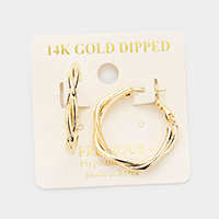 14K Gold Dipped 1 Inch Hypoallergenic Braided Hoop Earrings
