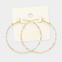 14K Gold Dipped 2 Inch Hypoallergenic Hoop Earrings