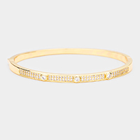 Gold Plated AAA CZ Cubic Zirconia Round Evening Bracelet