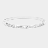Rhodium Plated AAA CZ Cubic Zirconia Round Evening Bracelet