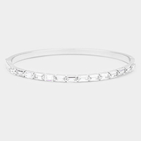 Rhodium Plated AAA CZ Cubic Zirconia Rectangle Evening Bracelet