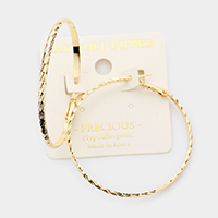 14K Gold Dipped 1.8 Inch Hypoallergenic Hoop Earrings