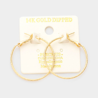 14K Gold Dipped 1 Inch Hypoallergenic Hoop Earrings