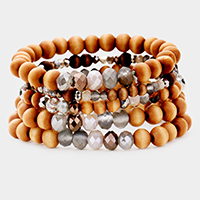 5PCS - Wood Multi Bead Layered Stretch Bracelets