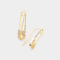 CZ Cubic Zirconia Brass Metal Safety Pin Climber Earrings