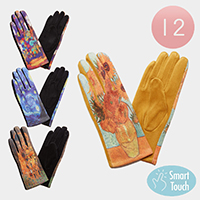 12Pairs - Painting Print Smart Touch Gloves