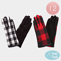 12Pairs - Buffalo Check Smart Touch Gloves