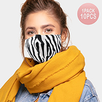 10PCS -  Zebra Print Cotton Fashion Masks