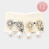12Pairs - Stone Pearl Dangle Clip on Earrings