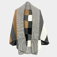 Multi Color Block Ribbed Cocoon Cardigan