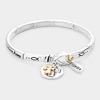 The Lord's Prayer Cross Charm Metal Message Stretch Bracelet