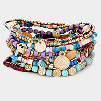 10PCS - Boho Multi Bead Metal Disc Charm Layered Stretch Bracelets