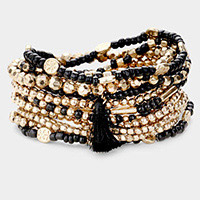 12PCS - Multi Bead Tassel Charm Layered Stretch Bracelets